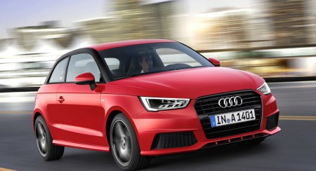 audi a1 red running on the road