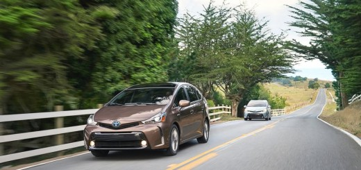 prius V running on the road